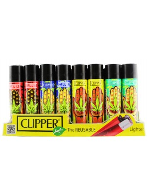 Wholesale Clipper Flint Reusable Hand Weed Design Lighters - Assorted