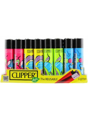 Clipper Flint Reusable Lighters In Andy Space Design - Assorted