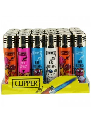 Wholesale Clipper Jet Refillable Lighters Bad Friends - Assorted Designs