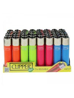 Wholesale Clipper Classic Flint Fluorescent Lighters - Neon Assorted Colours