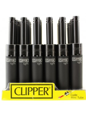 Clipper Matte Plain Mini Tube Utility Lighter - Black