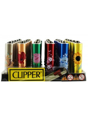 """Clipper Reusable """"Shiny Flowers"""" Mini Clipper Lighters - Assorted"""