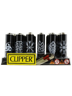 "Clipper Reusable ""Vikings"" Mini Clipper Lighters(Assorted) - Black"