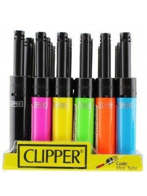 Clipper Shiny Plain Mini Tube Utility Lighter - Assorted Colours