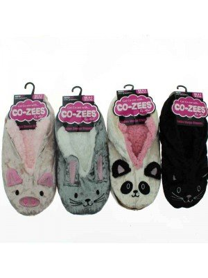 Ladies Co-Zee Novelty Animal Sherpa Lined Slippers - Assorted Design