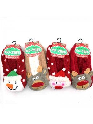 Ladies Co-Zee Sherpa Lined Novelty Slippers - Christmas Design Assorted Pack - 12 Pairs