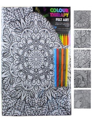 Wholesale Colour Therapy Felt Art Sheet With Pens - Assorted Designs