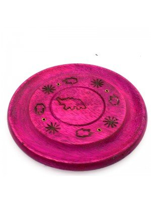 Coloured Wooden Incense Holder Plate -Carved Elephant Assorted 5''