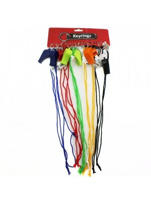 Coloured Plastic Whistle with Coloured Cord - Assorted Colours