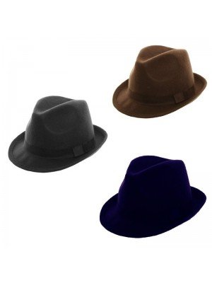 Felt Trilby With Bow - Assorted Colours
