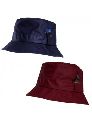 Adults Wax Bush Hat With Feather Detail - Asst. Colours & Sizes