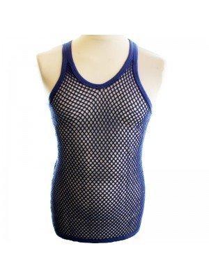 Cotton Mesh String Vest- Blue
