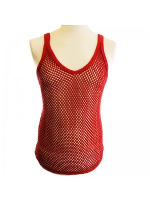 Plain String Vest - Red