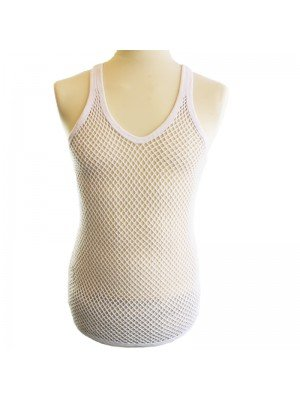 Cotton Mesh String Vest- White
