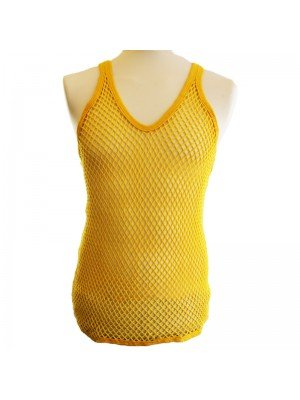 Cotton Mesh String Vest -Yellow
