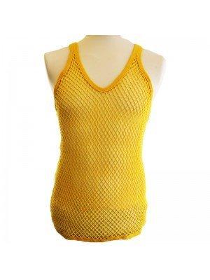 Plain String Vest - Yellow (XX-Large)