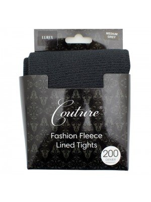 Couture 200 Denier Fleece Lined Lurex Tights - Grey (Medium)