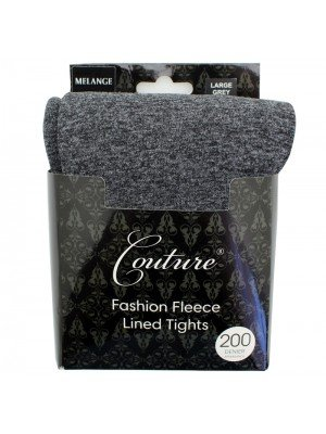 Couture 200 Denier Fleece Lined Melange Tights - Grey (Large)