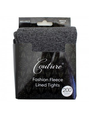 Couture 200 Denier Fleece Lined Melange Tights - Grey (Medium)