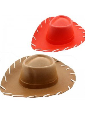 Adults Cowboy Eva Hat Red/Brown
