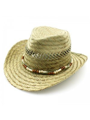 Cowboy Straw Hat With Beads (One Size)