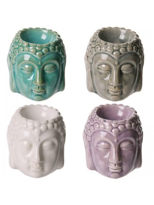 Buddha Crackle Glaze Ceramic Oil Burner- Asst. Colours