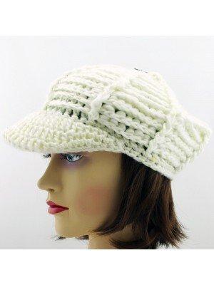 Ladies Chunky Bakerboy Peak Hat - Cream