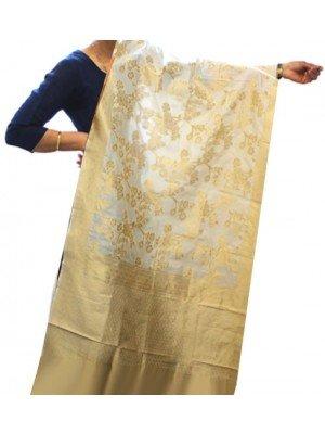 Wholesale Ladies Banarasi Brocket Silk Floral Print Ethnic Dupatta - Cream & Golden