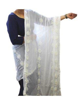 Wholesale Ladies Rose Design Nazneen Dupatta - Off White