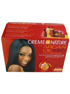 Wholesale Creme Of Nature with Argan Oil  Adavanced Straightening With Exotic Shine - Regular No-Lye Ralaxer Kit