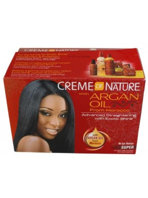 Wholesale Creme Of Nature with Argan Oil  Adavanced Straightening With Exotic Shine - Super No-Lye Ralaxer Kit