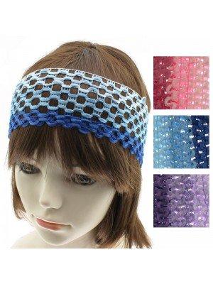 Crochet Design Headband - Assorted 3 Tone Colours