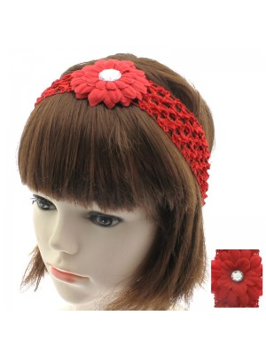 Crochet Flower Design Headband - Red