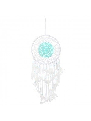 Crochet Dreamcatcher with Feathers Blue & White - 32cm