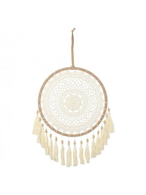 Crochet Dreamcatcher with Tassels in Cream - 60cm