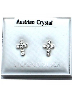 Wholesale Sterling Silver Austrian Crystal Cross Stud-Clear