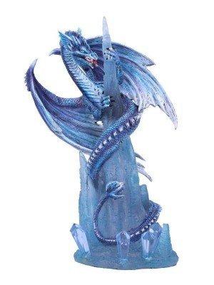 Wholesale Crystal Custodian Blue Ice Dragon Figurine - 25.5cm