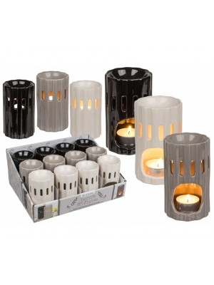 Wholesale Cylindrical Designed Ceramic Oil Burner In Assorted Colours-8.5x7cm