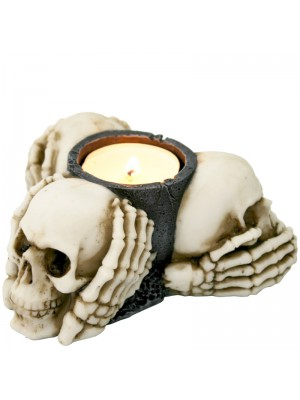 Three Wise Skulls Tealight Holder 11cm