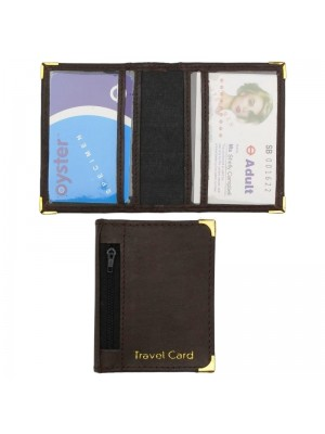 Wholesale Real Leather Travel Card Holder-Brown(10cm x 8cm)