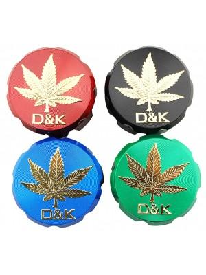 Wholesale D&K 4-Part Metal Grinder Gold Weed Design - Assorted Colours