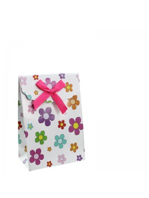 Daisy Flower Print Gift Bags with Velcro - 9 x 13 x 5cm