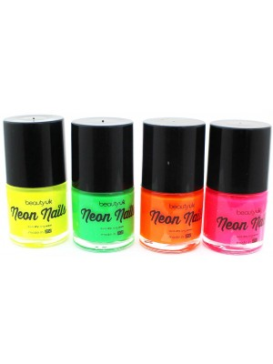 Wholesale Beauty UK Bright Neon Nail Paint-4x9ml(Assorted Shades)