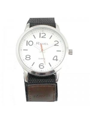 Wholesale Ravel Mens Classic Dial Velcro Watch Strap-Dark Brown/Black