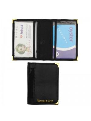 Wholesale Real Leather Travel Card Holder-Black(10cm x 8cm)