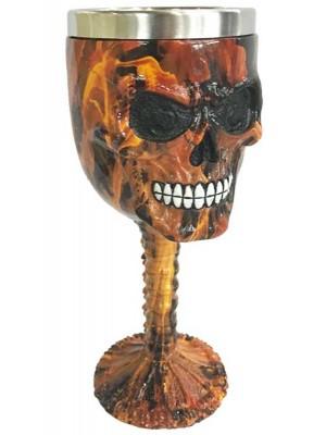 Wholesale Decorative Brown Marble Effect Skull Goblet - 16cm