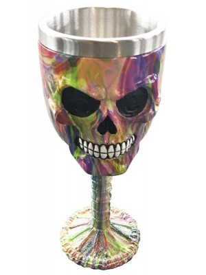 Wholesale Decorative Rainbow Marble Effect Skull Goblet - 16cm