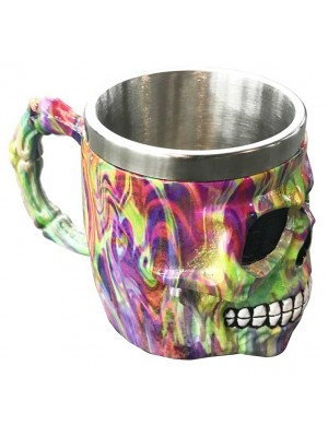 Wholesale Decorative Rainbow Marble Effect Skull Tankard