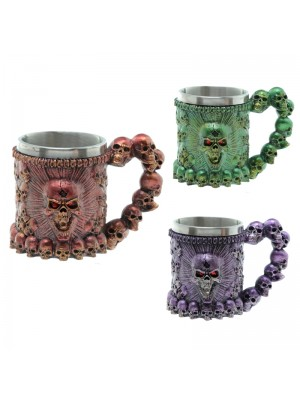 Decorative Screaming Skull Metallic Tankard - Assorted Colours
