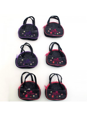 Glitter Denim Princess Purse with Flower Embroidery- Assorted Colours